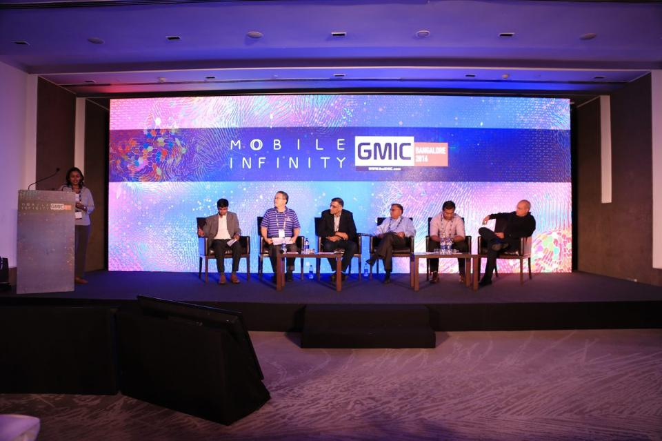 A VC panel at the GMIC Conference in Bangalore, 2016. VCs (L-R): Sneha Banerjee, Entrepreneur India; Aakash Goel, Bessemer Venture Partners; Hiro Mashita, M&S Partners; Anand Lunia, India Quotient; Venkat Raju, Kyron; Sunil Rao, LightSpeed India Partners; Nikhil Khattau, Mayfield. Photo courtesy of GWC.